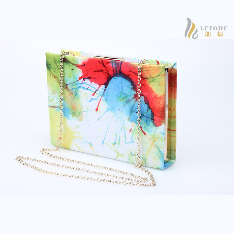 1390c98bb74 Detail Feedback Questions about Rectangle like a book colourful print flap  lady clutch bag single chain hasp small evening handbag high quality  borsetta ...