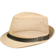 Cool Eyelet Straw Cap Vacation Beach Hat Faux Leather Ribbon Jazz Fedora Men Women Size 58CM