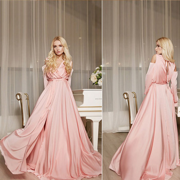 цена на Eightree Long Bell sleeve Evening Dress Strapless Shoulder Pink/Sky Blue Party Sweet Dress Front Split with Belt Long Prom Dress