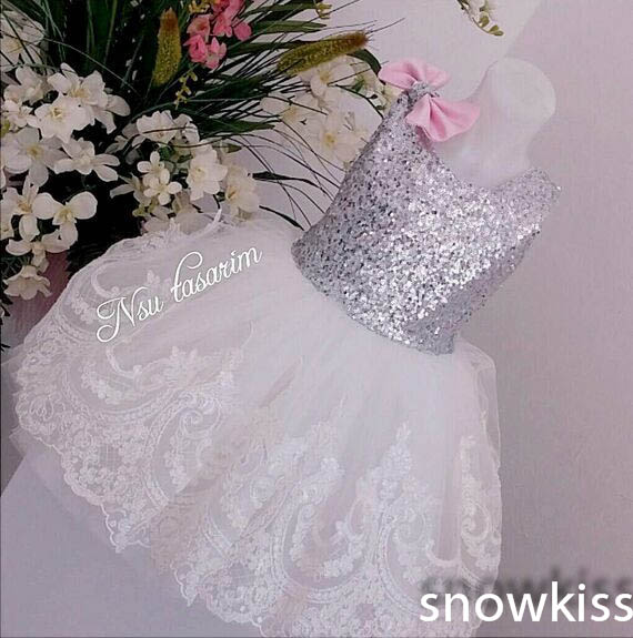 Cute New Cute Bling Sequin White Lace flower girl dresses with Pink Bow baby Birthday Party Dress wedding occasion ball gowns sliver bling sequins pink white lace baby birthday party dress flower girl dress