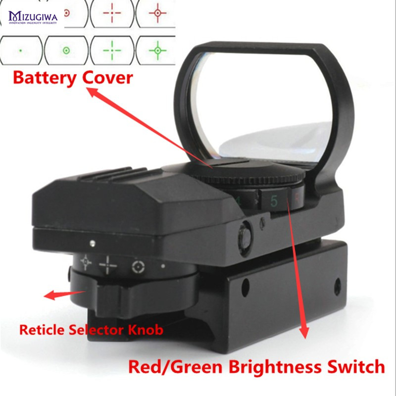 MIZUGIWA Holographique 4 Réticule Reflex Tactique Rouge Vert Dot Sight Portée 20mm/11mm Ferroviaire Chasse Gun Par Arma Airsoft Pistolet