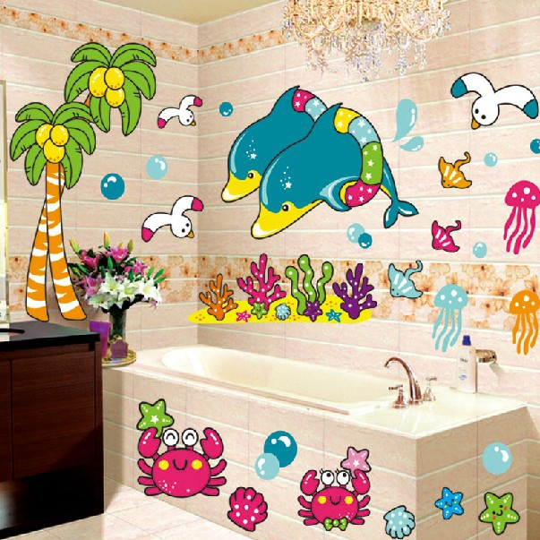 Bathroom Tile For Sale View More 1 Set 45 60 Inch Removable Pvc Decals Diy Cartoon Dolphin Sea World Waterproof Wall