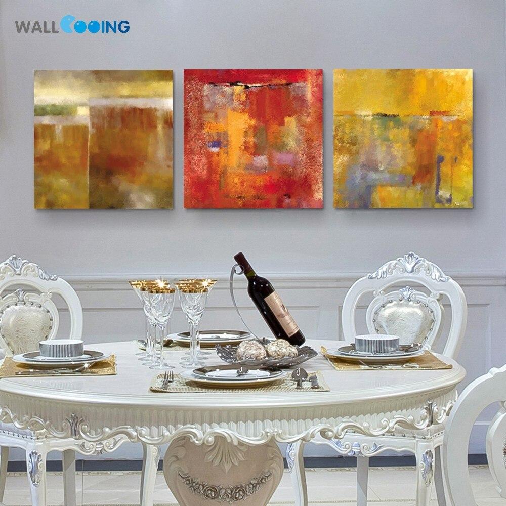 Cooing 2017 New Hot 3 Panel Dinding Kanvas Lukisan Abstrak R Flare Rak Gantung Minimalis Tebal 3cm 1set 3pcs Merah Graffiti Art Print Rumah Modular Gambar Dekorasi