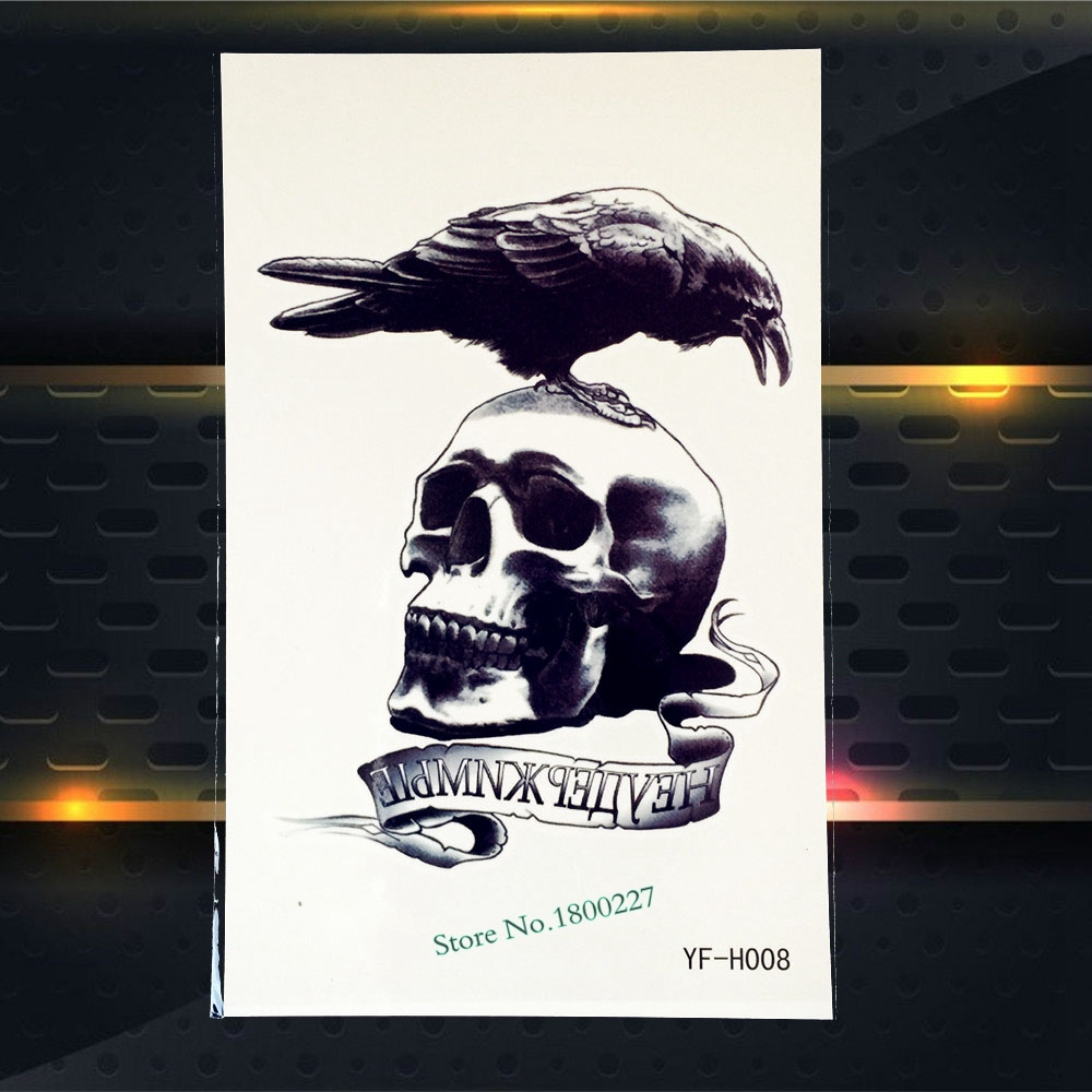 1PC Punk Men Women Arm Tattoo Sleeve Waterproof Decals Crow Dead Skull Head Design Body Leg Art Temporary Tattoo Stickers PYFH08