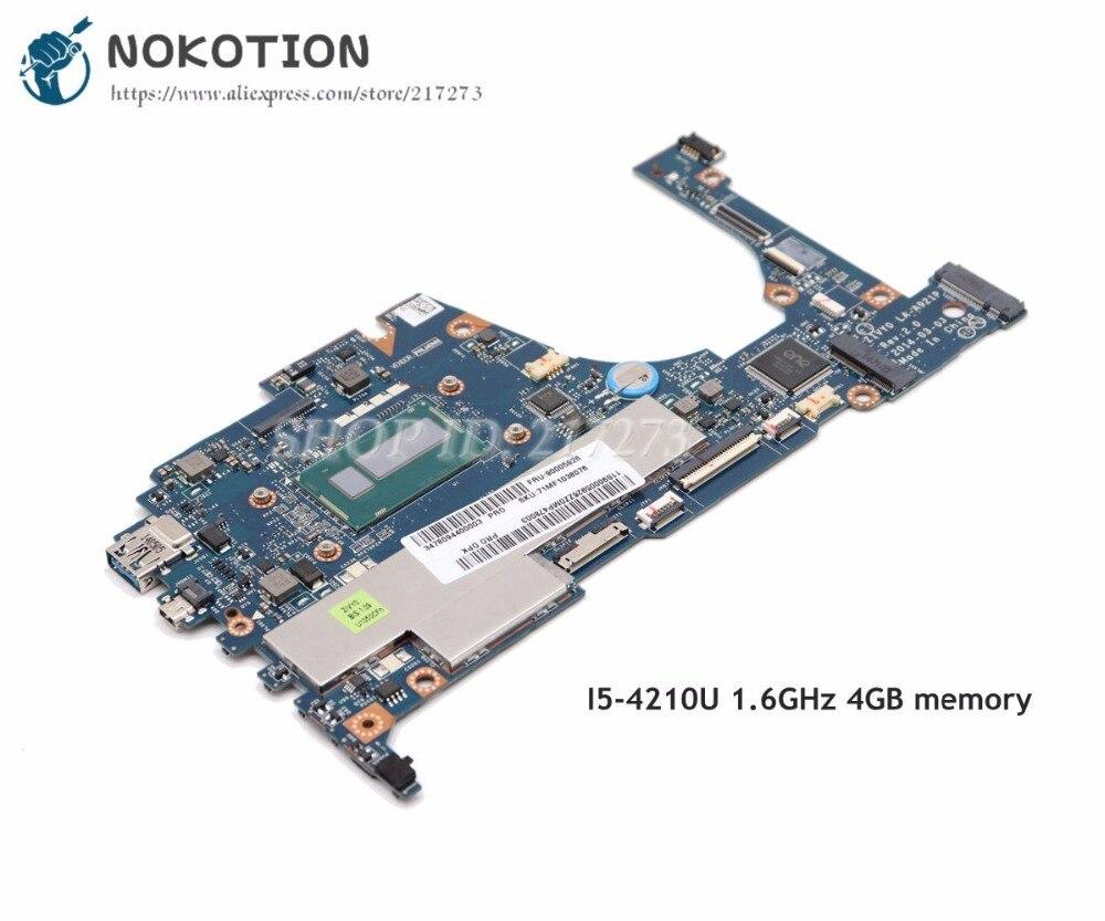 NOKOTION Pour Lenovo yoga 2 13 Ordinateur Portable Carte Mère 13.3 pouce SR1EF i5-4210U 1.6 GHz 4 GB mémoire ZIVY0 LA-A921P Plein testé