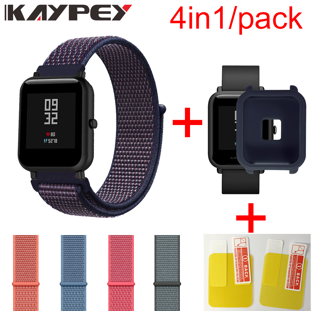 4in1/Pack Nylon Loop Strap For Xiaomi Huami Amazfit Bip BIT Youth Watch Wrist Strap Bracelet Rubber Amazfit bip Soft Case Cover4in1/Pack Nylon Loop Strap For Xiaomi Huami Amazfit Bip BIT Youth Watch Wrist Strap Bracelet Rubber Amazfit bip Soft Case Cover