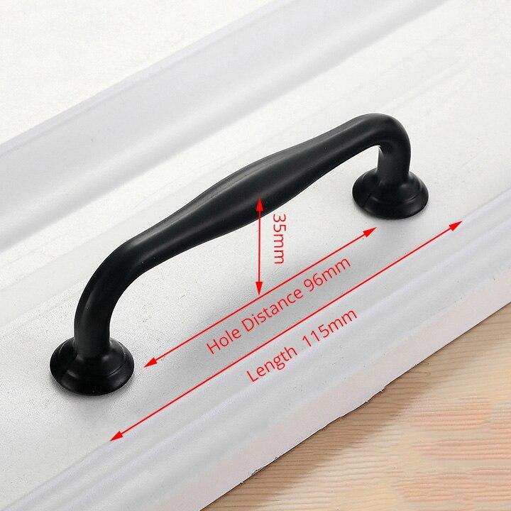 NAIERDI черные ручки шкафа американский стиль твердый алюминиевый сплав кухонный шкаф ручки для выдвижных ящиков оборудование для обработки мебели - Цвет: Handle-6660C-96