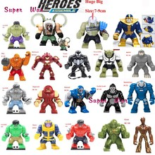 Single Sale Large Big Size Super Heroes Thanos Bane Hulk Venom Ironman Dogshank Building Blocks Toys for children(China)