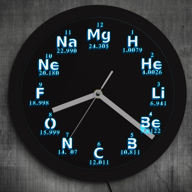 Periodic table chemical element wall clock modern design science led periodic table chemical element wall clock modern design science led lighting wall watch chemistry science student urtaz Images