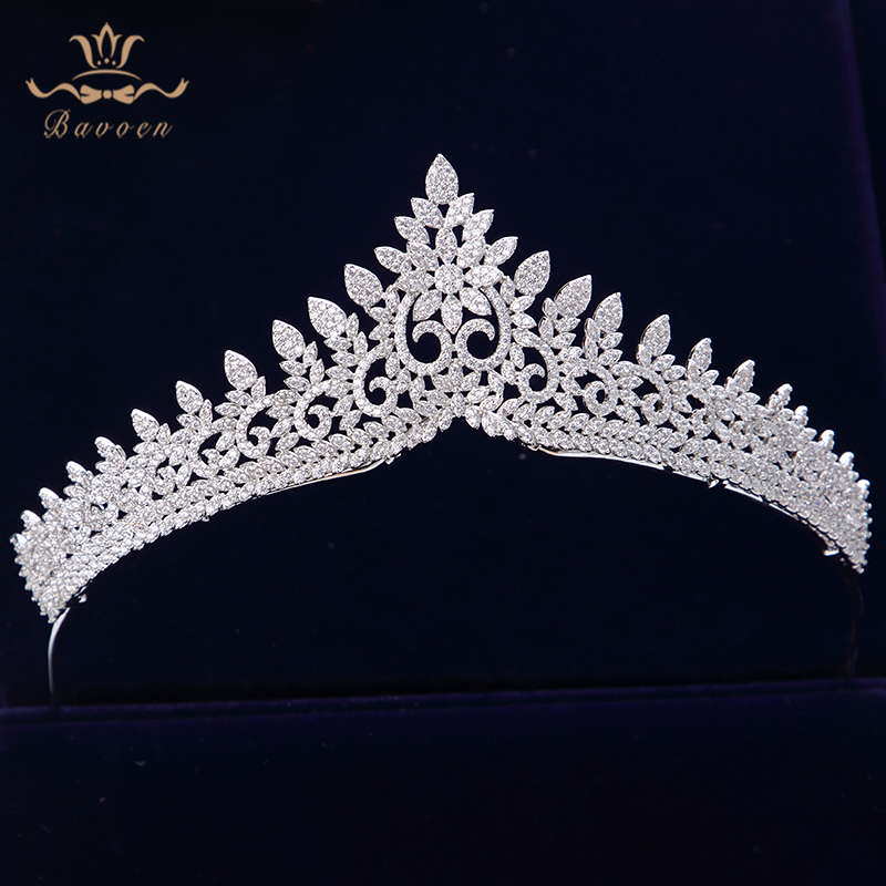Sparkling Zircon Crystal Brides Tiaras Crowns Silver Wedding Hairbands Royal Queen Evening Hair Jewelry Wedding Accessories