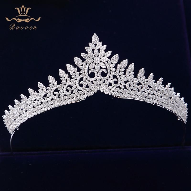 Sparkling Zircon Crystal Brides Tiaras Crowns Silver Wedding Hairbands Royal Queen Evening Hair Jewelry Wedding Accessories
