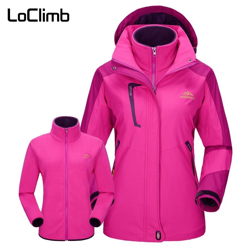LoClimb 3 In 1 Brand Women s Windbreaker Waterproof Windproof Winter Hiking Jackets Women Fleece Coat