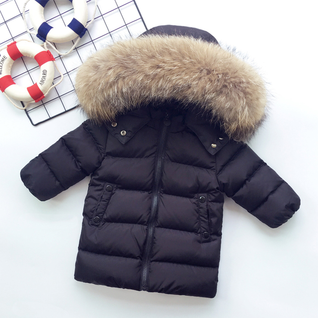 a0f3b26cf 2 7y Baby Winter Warm Clothes 90% White Duck Down Hoodie Snowsuit ...