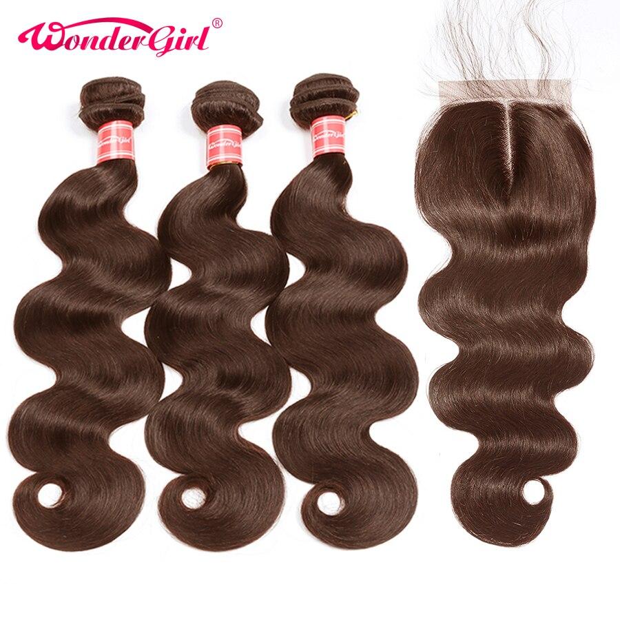 Wonder Girl #4 Body Wave Bundles With Closure 28 Inch Bundles Peruvian Hair With Closure Remy Human Hair Bundles With Closure