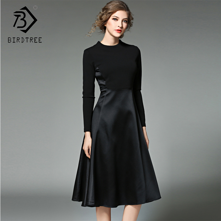 85480bac4e Aliexpress.com : Buy 2018 Winter New Arrival Women's Dresses O Neck Fashion  Patchwork Mid Elegance Empire Full Sleeve Sashes Slim Clothing D88216L ...