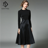 2019 Winter New Arrival Women's Dresses O Neck Fashion Patchwork Mid Elegance Empire Full Sleeve Sashes Slim Clothing D88216L