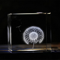 6cm Crystal Dandelion Cube Crafts 3D Laser Engraved Glass Miniatures Gifts Ornaments Home Decoration Special Gifts