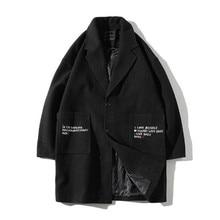 2018 winter suit new men's mid length fashion embroidered windbreaker jacket regular large pocket Lapel woolen coat notch lapel patch pocket back vent woolen coat