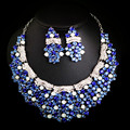 White Gold Plated Jewelry Sets For Women India And Turkish Style Full Crystal Plant Shape Jewelry Sets With Necklace Earrings