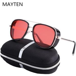 2020 Steampunk tony stark Iron Man 3 Sunglasses Men Mirrored Designer Brand Women Glasses Vintage Red lens Sun glasses UV400