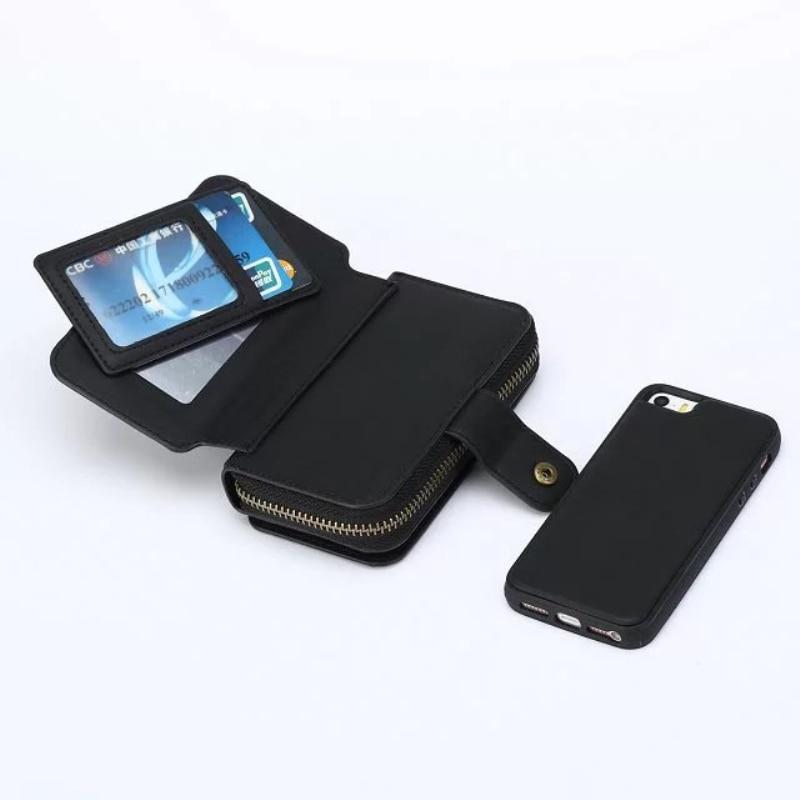 Multi Fungsi Zip Dompet tas Ponsel Untuk iPhone 5 6 7 6 plus Lipat 3 - Aksesori dan suku cadang ponsel - Foto 2