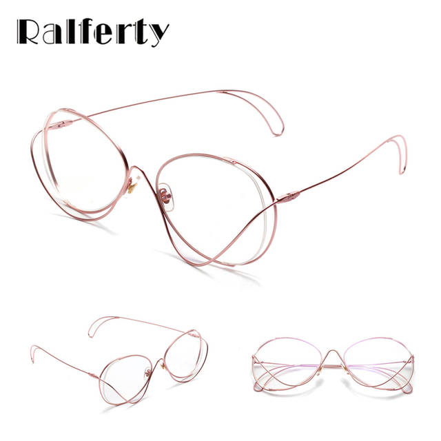 c2b3f1e064f placeholder Ralferty Unique Designer Glasses Frames Women Irregular Pink  Metal Rims Eyewear Clear Lens Eyeglasses Decorate Spectacles