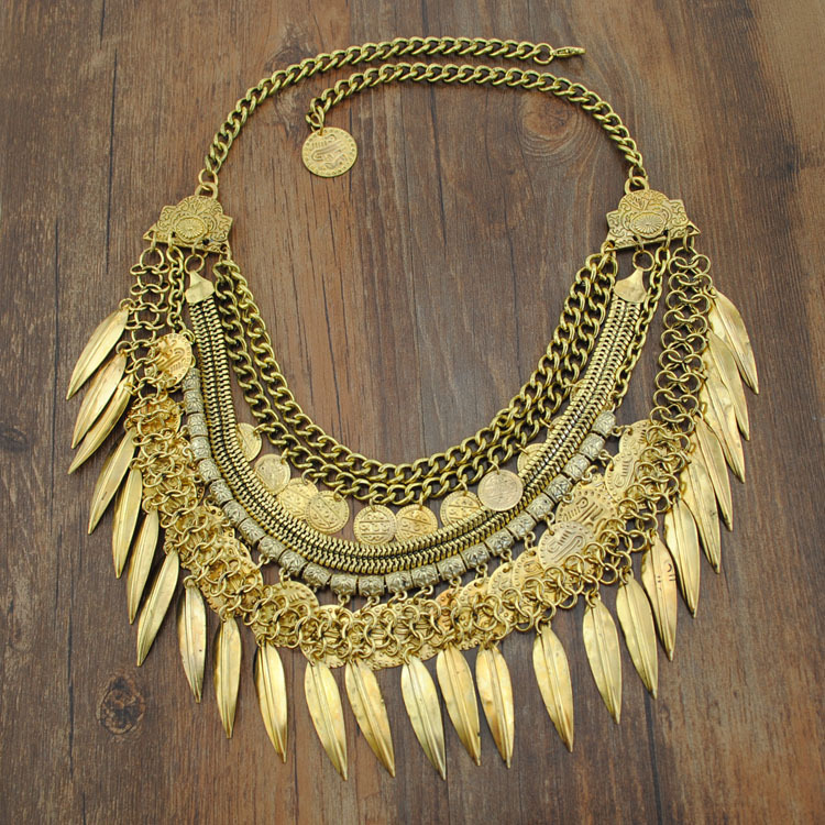Women Fashion Jewelry Bohemian Antique SilverGold Coin Necklace