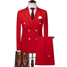 Red Double Breasted Mens Slim Fit Wedding Suit High Quality Terno Masculino Business Formal Grooming Suits Jacket Pant Vest