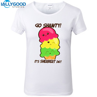 2017 חדש קיץ גלידת Kawaii חולצות נשים ללכת shawty זה גלידת פרות יום מכתב הדפסת חולצה הלבנה T נשים מזדמנים חולצות S1022