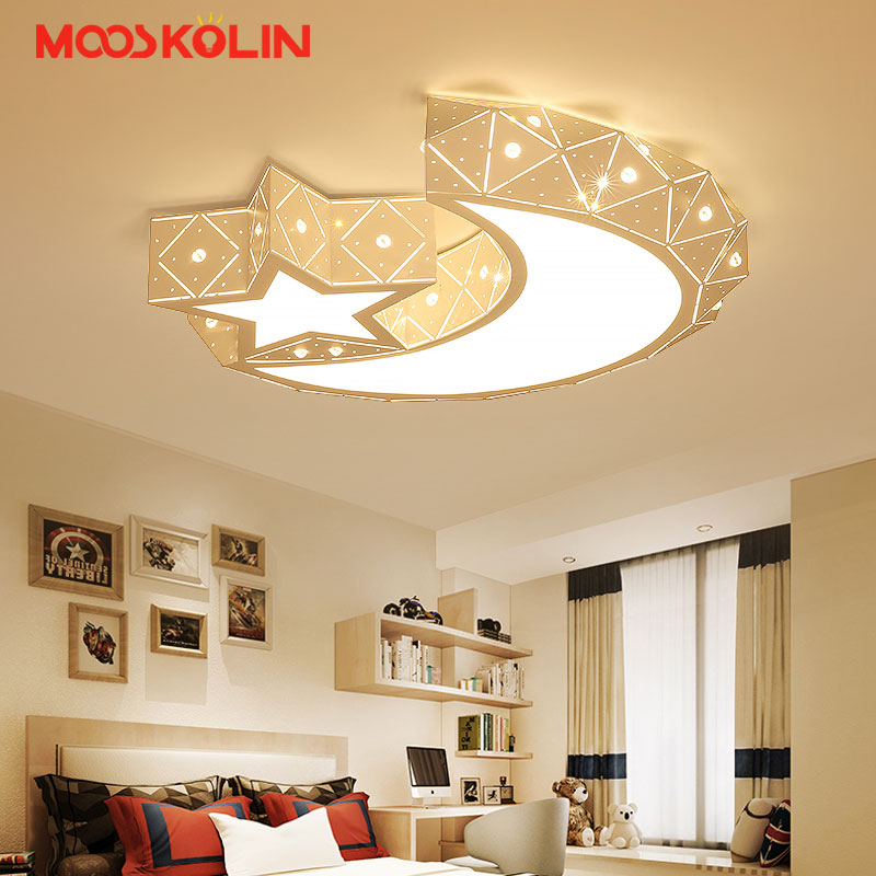 2018 Creative star half moon led ceiling light 85-265V 24W led child baby room lights ceiling lamps bedroom decoration lights creative star moon lampshade ceiling light 85 265v 24w led child baby room ceiling lamps foyer bedroom decoration lights