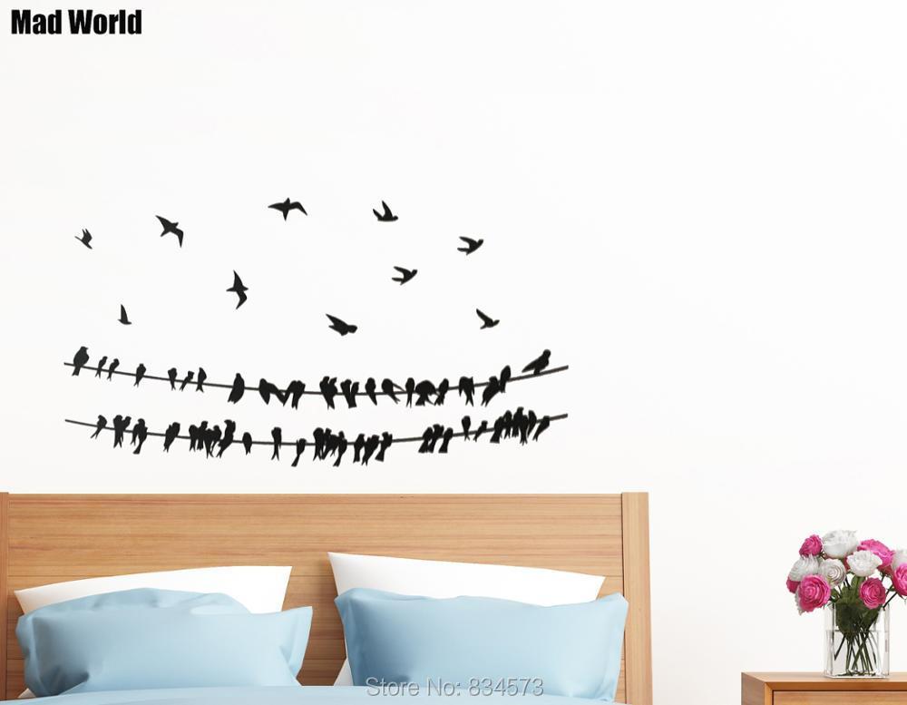 Mad World Birds on Powerline Animal Bird Wire Wall Art Sticker Wall ...
