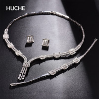 HUCHE Luxury Jewelry Set For Women Pave Shining Rhinestone With Necklace Earrings And Bracelets Vintage Fashion