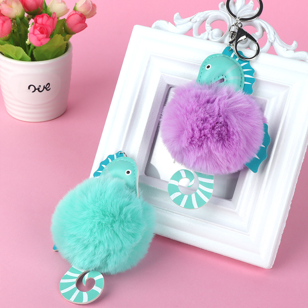 3d6a35309ea Cute Sea Horse Shape Plush Animals Toy Fluffy Faux Fur Ball Toy Fluffy  Pendant Children Gift