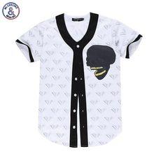 2017 Mr.1991INC Hip Hop Men/ladies V-neck Short Sleeve Summer T-shirt Print Skulls Diamonds Shirts With Buttons