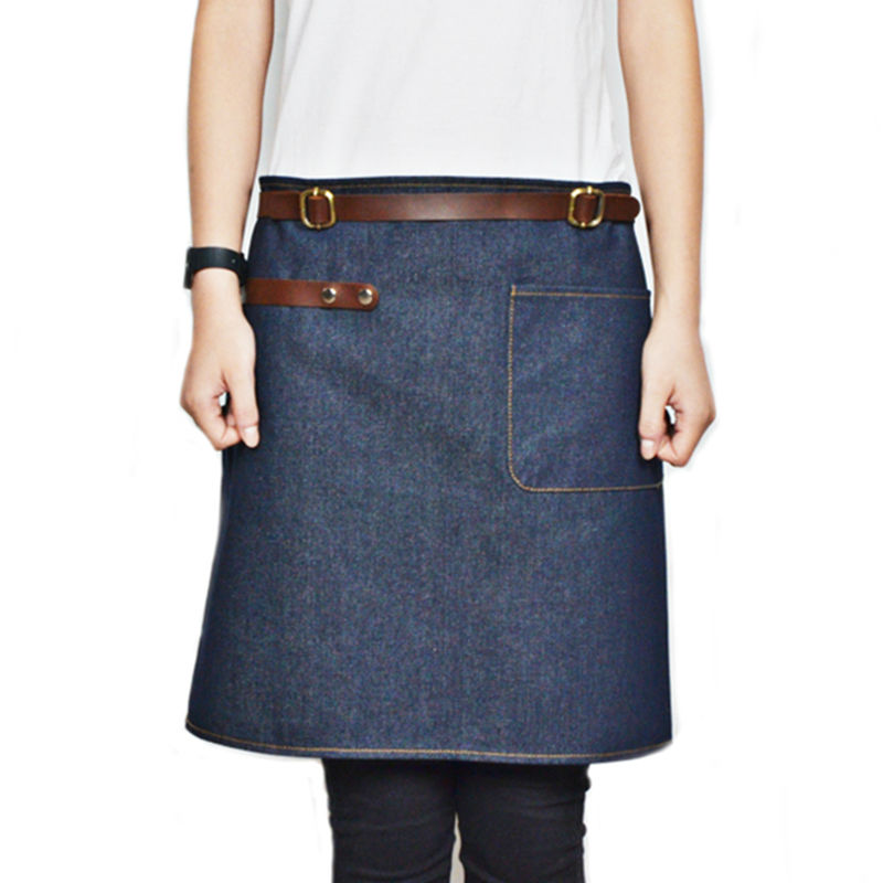 Half Length Blue Denim Gray Canvas Apron w Leather Straps Barber Barista Florist Cafe Bar Bistro