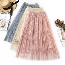 купить Ladies 3 D Embroidery Mesh Skirt Female Spring and Summer Long Fairy Skirt Elastic Wasit A Line Flower Embroidered Women Skirts дешево