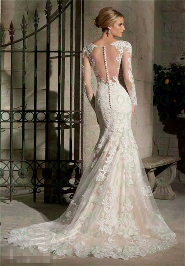 Lace Sleeved Mermaid Wedding Dresses Tulle Scoop White Ivory Illusion Back Liqued Ons Down Bridal Gown Plus Size In From