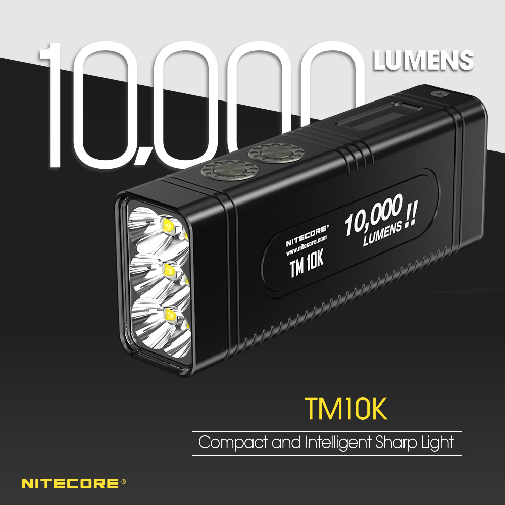Nitecore TM10K 10000 Lumens Tiny Monster Rechargeable 6x LED Flashlight Include Built-In 4800mAh Li-Ion Battery Pack Searchlight