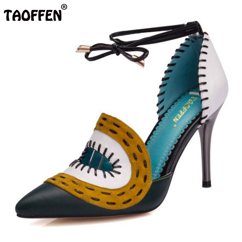 TAOFFEN free shipping quality genuine leather high heel sandals women sexy footwear fashion lady shoes R4470 hot sale 34-39 taoffen free shipping high heel shoes women sexy dress footwear fashion lady female pumps p13165 hot sale eur size 32 43