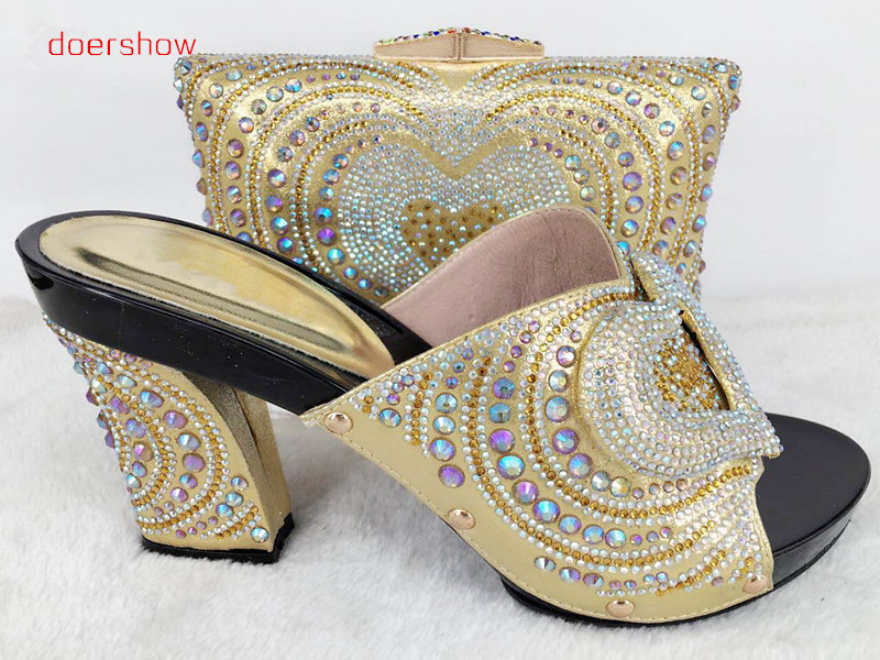 doershow Latest African Shoes And Bag Set For Party Italian Fashion Women Sandal With Matching Bags Set With Rhinestones!Hlu1-55 new arrival design italian shoes with matching bags set nice quality african shoes and bag sets with rhinestones hlu1 17