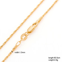 Drbonham long 60cm extra thin 1.3mm 18KGF gold filled round popcorn chain necklace for pendant men women punk boys summer gift(China)