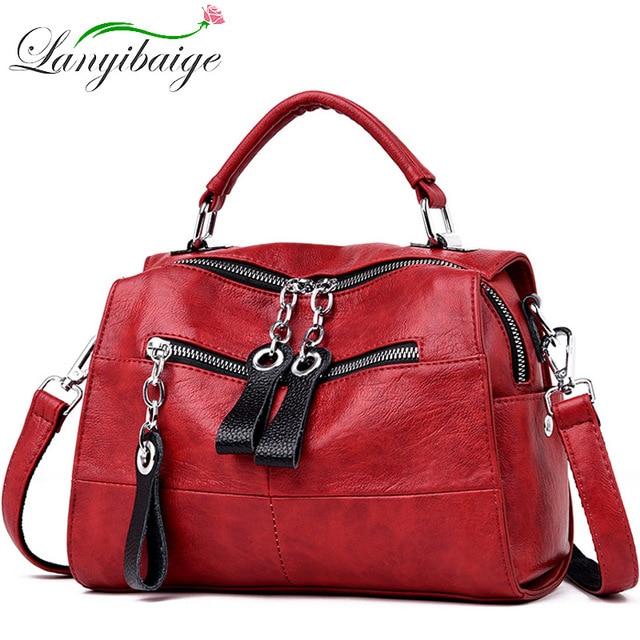 2019 Luxury Soft Leather Handbags Women Bags Designer Girls Small Flap Bags Retro Crossbody Bag for Women Multifunction Bag Sac
