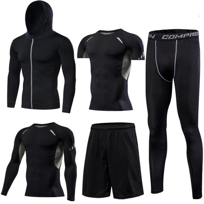 Kuangmi Männer Gym Kleidung Fitness Sportswear Kompression Strumpfhosen Anzüge Laufende Sport Engen Jogging T shirt und Hosen Set Kleidung - 4