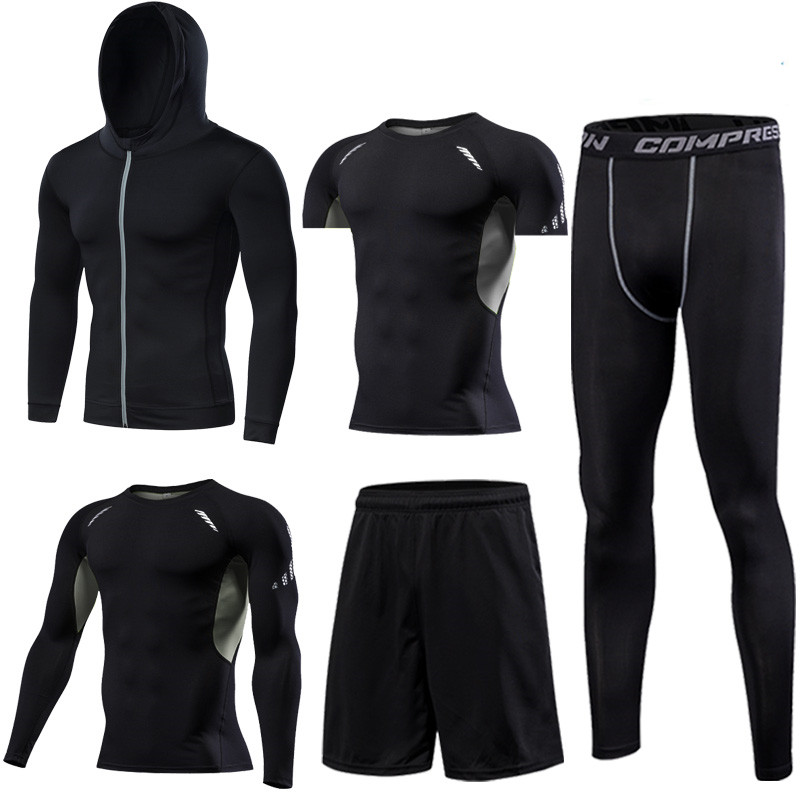 Quick Dry Running Set Men's Compression Basketball Tights Sports Running Sets Gym Fitness Sportswear Running Jogging Set Clothes - 4