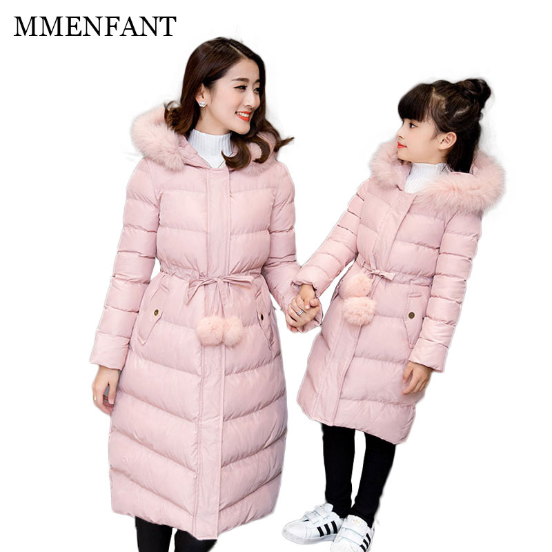 2017 winter Family look mother and daughter clothes women long jackets christmas ouwear coats mommy and me clothes mae e filha свитшот бабочка family look
