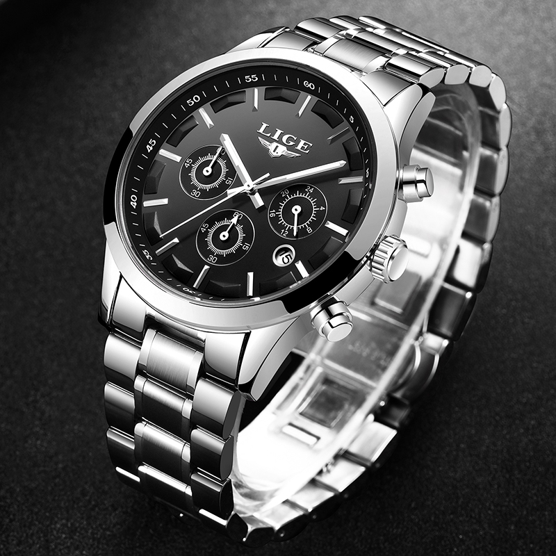 2018 New Men Watch LIGE Top Brand Luxury Business Quartz Watch Stainless Steel Waterproof Military Relojes Relogio Masculino+Box relojes full stainless steel men s sprot watch black and white face vx42 movement