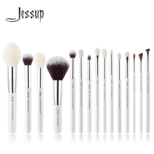 Jessup Pearl White/Silver Professional Makeup Brushes Set Beauty Make up Brush Tools Foundation Powder natural synthetic hair