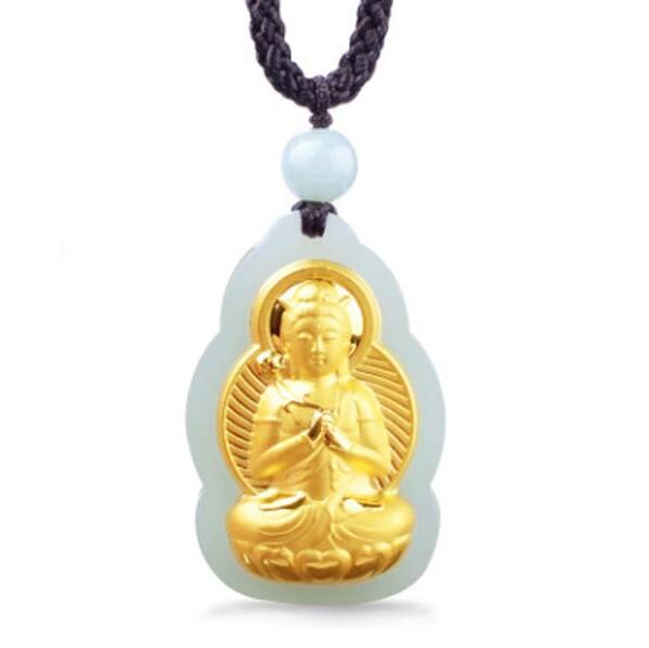 Natural HeTian Yu 100% Pure Solid 18 Gold Amulet Buddha PuXian Kwan-Yin Lucky Pendant Necklace + Certificate Fine Jewelry
