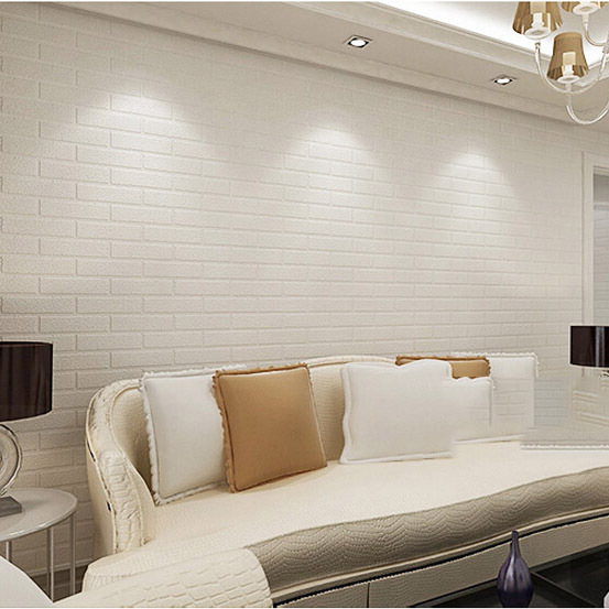 Pure White Brick Wallpaper Stone Designs Pvc Roll By Free Shipping