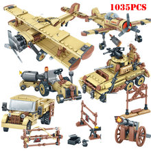 4 in 1 World War 2 Military Tank Plane Car Helicopter SWAT Soldiers Building Blocks Compatible Legoing Army Bricks Children Toy(China)